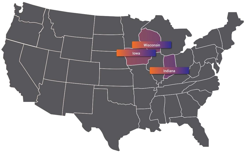 Индиана, Айова и Висконсин
