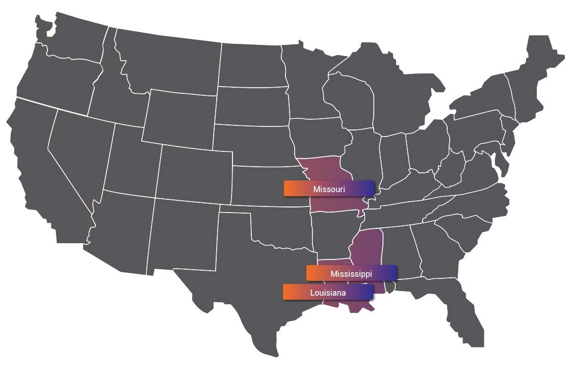 Луизиана, Миссисипи и Мисури