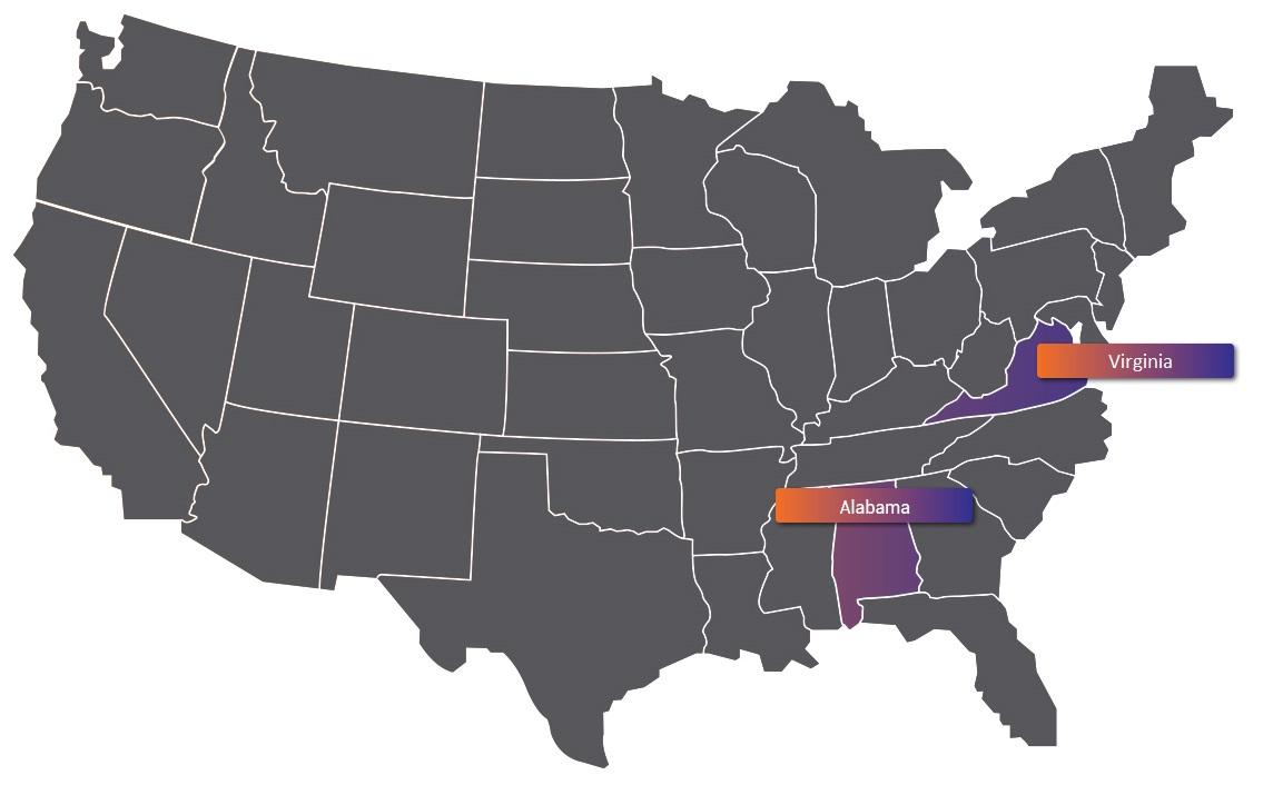 Алабама и Вирджиния