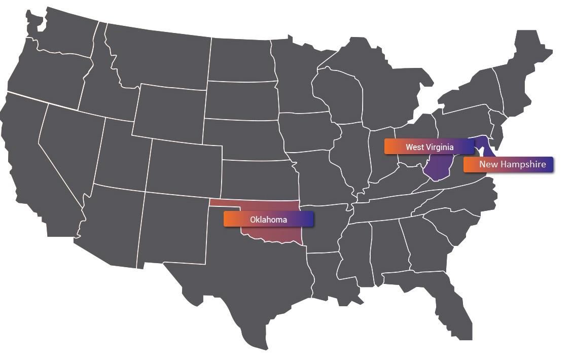Западная вирджиния, Оклахома и Нью Гемпшир